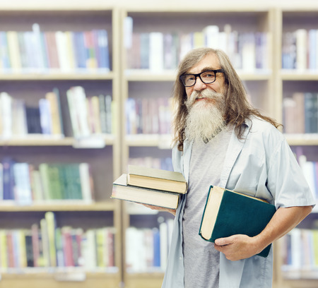 literate: Senior with Books Glasses, Student Old Man Education in Library, Beard Mature Training Stock Photo