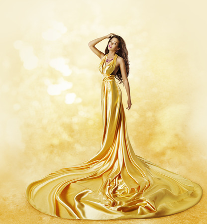 evening gown: Fashion Model Yellow Dress, Woman Posing Twisted Beauty Gown with Long Pleats