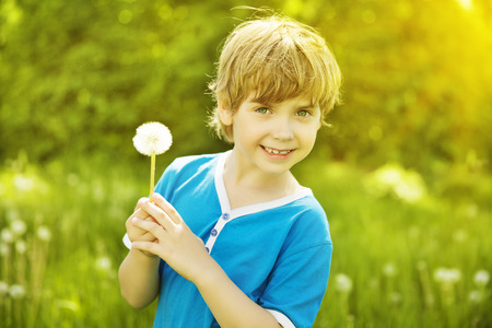 5 6 years: Child Portrait Outdoor with Dandelion, Little Boy Fashion Beauty Face, Kid six years old posing over Green grass
