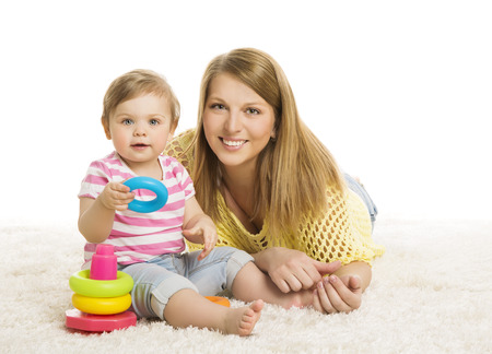 Baby and Mother, Kid Playing Blocks Toy, Early Children Development Toys, Young Family and Little Child one year old