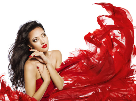 model face: Woman Long Hair Black Color, Fashion Model Face Makeup Portrait, Brunette Girl in Red Cloth Looking Up over White
