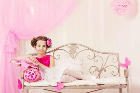 7 year old girl: Fashion Kid, Little Girl Portrait, Cute Child Posing in Pink Retro Dress, Vintage Fashioned Style