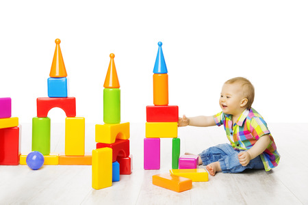 building backgrounds: Baby Kid Play Block Toys Building, Child Boy Constructor Playing Bricks Game, Children Room over White