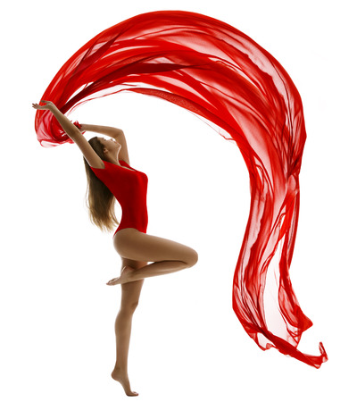 Dancing Woman in Leotard, Flying Red Cloth on White, Gymnast Girl Dance with Wave Fabric Ribbon Stock Photo