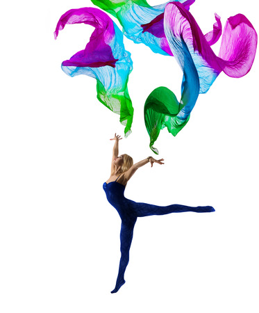 gymnastics: Dancer Woman Gymnastic with Flying Cloth, Girl Gymnast in Leotard Pose with Waving Fabric, isolated over White Background Stock Photo