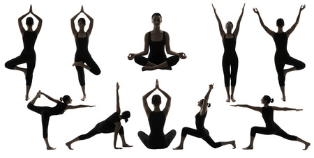 Silueta Yoga Poses en blanco, mujer Asana Posición Ejercicio, posando Mujer Set Collection Foto de archivo