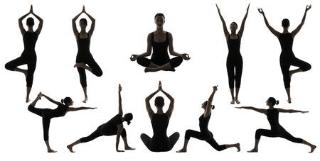 silueta humana: Silueta Yoga Poses en blanco, mujer Asana Posición Ejercicio, posando Mujer Set Collection Foto de archivo
