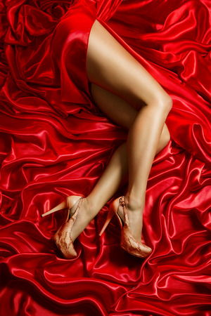 feet naked: Legs Shoes High Heels on Red Cloth, Sexy Woman on Waving Silk Fabric, Girl in Sensual Dress