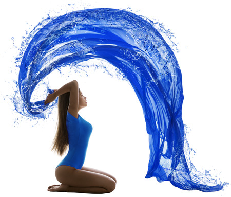 leotard: Woman Water Wave, Sexy Girl in Swimsuit Painting Blue Color over White background, aquatic sport concept Stock Photo