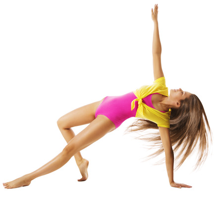 gimnasia: Mujer que ejercita Deporte Gimnasia, Sexy Girl ejercicio de la aptitud en negro, Bailar gimnasta Activo