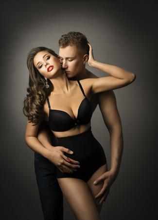 Sex, Man Kiss Sensual Woman, Passion Couple Love Portrait, Sexy Underwear Panties