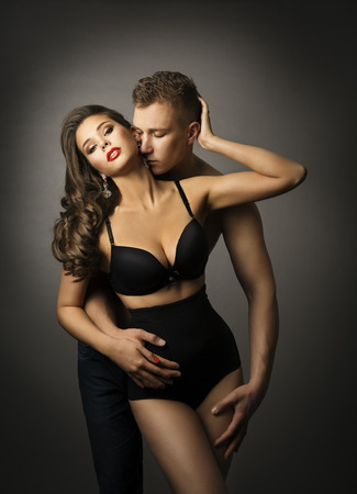 black sex: Sex, Man Kiss Sensual Woman, Passion Couple Love Portrait, Sexy Underwear Panties
