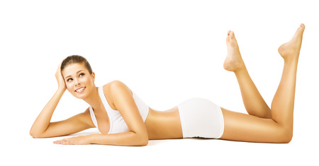 smooth: Woman Body Beauty, Girl in White Cotton Underwear, Young Smiling Model Lying on Stomach