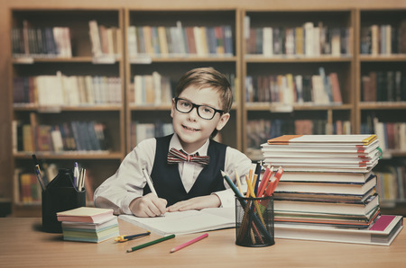 person writing: School Kid Education, Student Child Write Book, Little Boy in glasses, Vintage Classroom