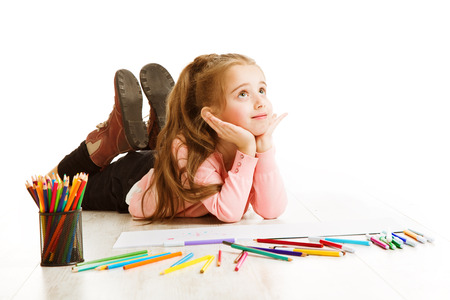 laying on back: School Kid Thinking, Education Inspiration Concept, Dreaming Inspiring Child, Student Girl Drawing on White