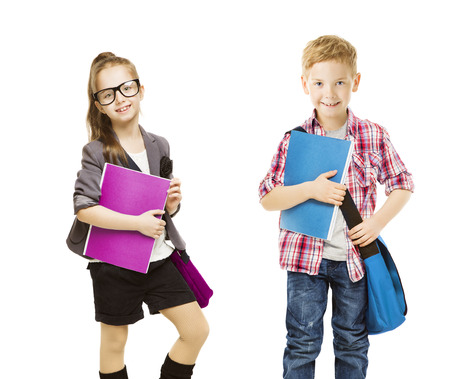 ready: School Kids Group, Children in Uniform on White, Little Girl Boy with Student Folder, seven years old Stock Photo