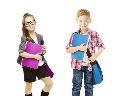 School Kids Group, Children in Uniform on White, Little Girl Boy with Student Folder, seven years old Archivio Fotografico