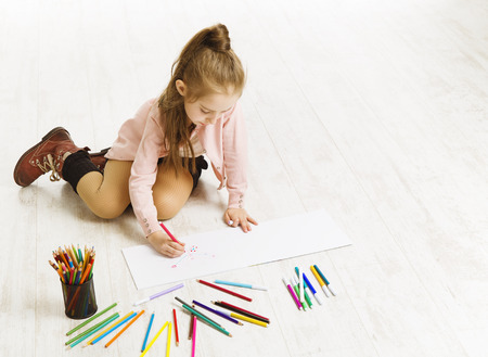 Kid Girl Drawing Color Pencils, Artistic Child Education, Painting on White Floor