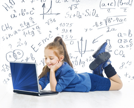 computer education: Child Looking at Laptop, Kid with Computer, Little Girl and Notebook, Mathematics Formula, School Education