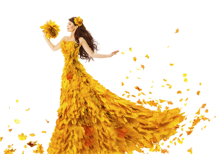 fall beauty: Woman Autumn Fashion Dress of Fall Leaves, Model Girl in Yellow Wedding Bride Gown on White, Creative Beauty Stock Photo
