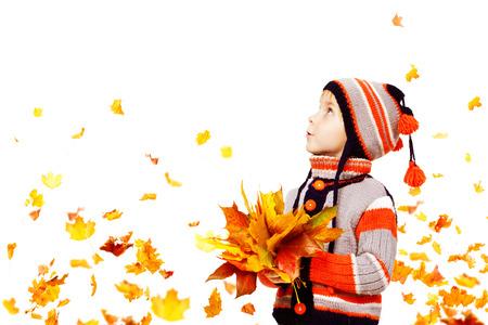 Autumn: Kid otoño Moda, de punto Niño Sombrero de lana Ropa Chaqueta, Boy con hojas de otoño que mira para arriba en el blanco, de cinco años de edad Foto de archivo