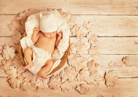 sleeping at desk: Baby Sleeping on Autumn Wood, New Born Kid Asleep in Leaves, Newborn Lying in Decorated Background, One Month