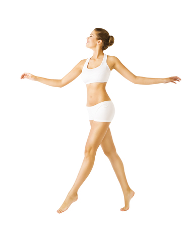 Woman Walking Side View, Sexy Girl in Cotton Underwear, People on White