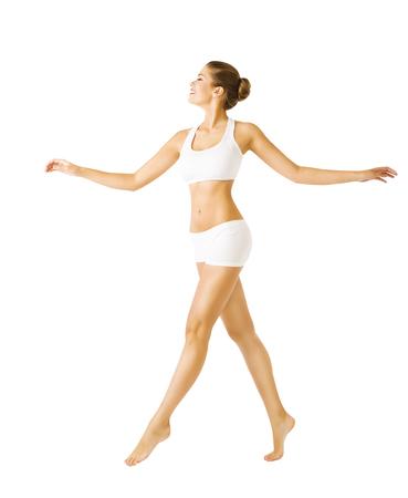 ropa interior: Mujer que recorre Vista de costado, chica sexy en ropa interior de algodón, Personas en el blanco