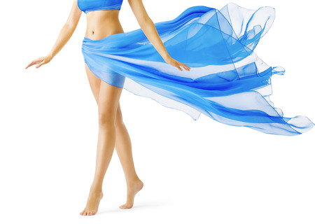 Woman Legs, Girl in Blue Waving Dress, Smooth Skin Leg Tiptoe on White Stock Photo