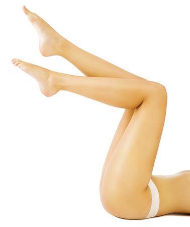 naked woman  white background: Woman Legs, Slim Leg Smooth Skin, Model Lying on White Background