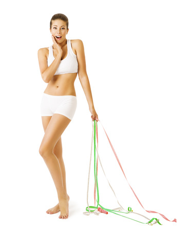 young underwear: Slim Woman and Measuring Tapes, Slimming Thin Girl in White Underwear, Weight Loss