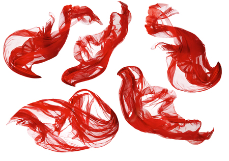 textile: Fabric Flowing Cloth Wave, Red Waving Silk Flying Textile, Satin on White Isolated Background