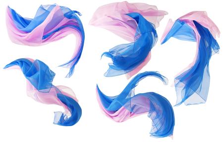 tela seda: Tela fluye Cloth Wave, seda que agita del vuelo raso, rosa de color azul sobre fondo blanco Foto de archivo