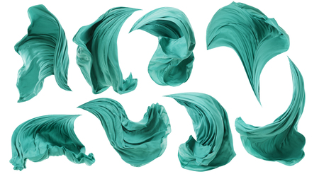 Fabric Cloth Flowing on Wind, Textile Wave Flying In Motion, White Isolated