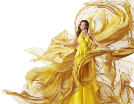 textile: Fashion Model Dress, Woman in Flowing Fabric Gown, Clothes Flow on Wind, White Yellow