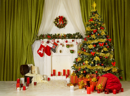 scene: Christmas Room Xmas Tree, Decorated Home Interior, Hanging Sock on Fireplace, Presents Gifts, Santa Bag