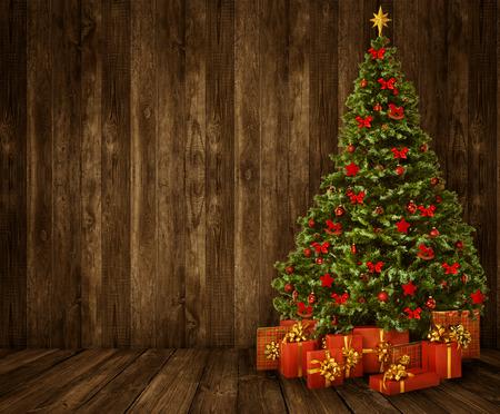 クリスマス ツリーの部屋背景、木製の壁床インテリア木製の板 写真素材