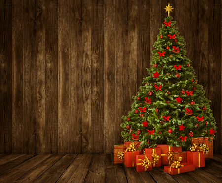 retro christmas tree: Christmas Tree Room Background, Wood Wall Floor Interior, Wooden Planks Stock Photo