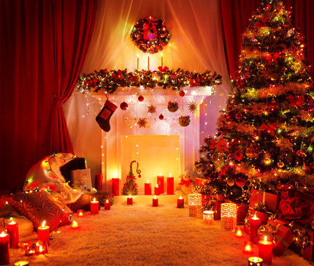 xmas background: Room Christmas Tree Fireplace Lights, Xmas Home Interior Decoration, Hanging Sock and Present Toys