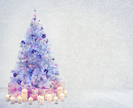 Christmas Tree in Interior Room, Xmas Tree on White Wood Floor and Wall, Presents Gifts