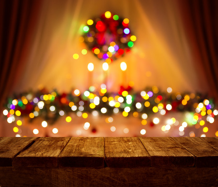 illuminations: Christmas Table Blurred Lights Background, Wood Desk in Focus, Xmas Wooden Plank, Blur Home Room