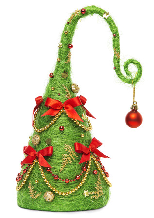 xmas background: Christmas Tree Decorative, Abstract Creative Xmas Hanging Decoration, Isolated White Background