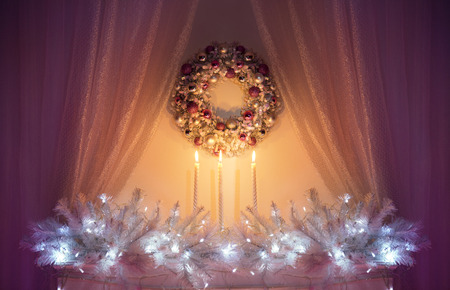 wall decor: Christmas Decoration Night Lights, White Xmas Decor Tree Branch, Wreath and Candles on Wall