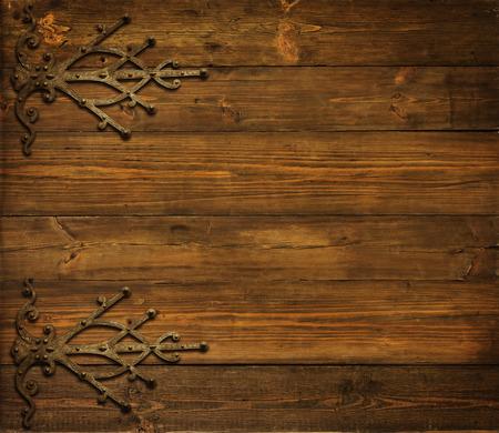 Houten Achtergrond, Oude Metalen Ornament, Houten Planken Bruine Textuur