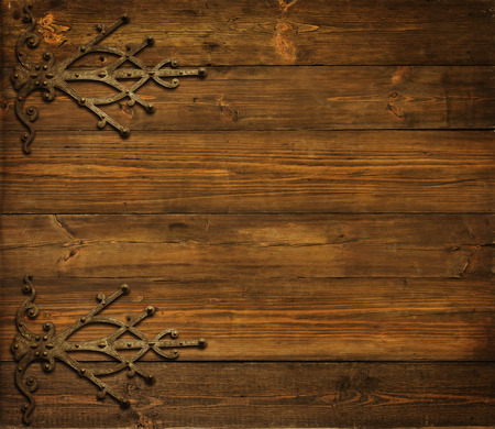 Wood Background, Old Metallic Ornament, Wooden Planks Brown Texture