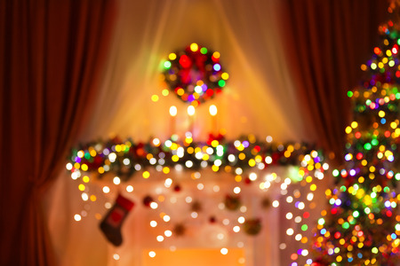 out of focus: Blurred Christmas Room Lights Background, De Focused Xmas Tree Light