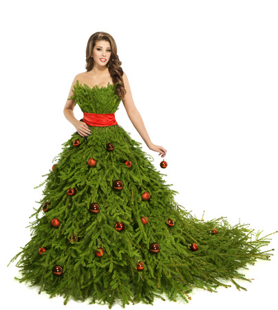 gown: Christmas Tree Woman Dress, Fashion Model isolated on White, Xmas and New Year Girl