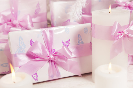 birthday presents: Presents Gift Boxes, Silk Ribbon Bow White Pink Color, Christmas or Birthday for Girl or Woman