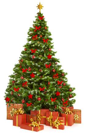new year tree: Christmas Tree and Presents Gifts, Xmas Tree Decorated with Toys, Isolated on White