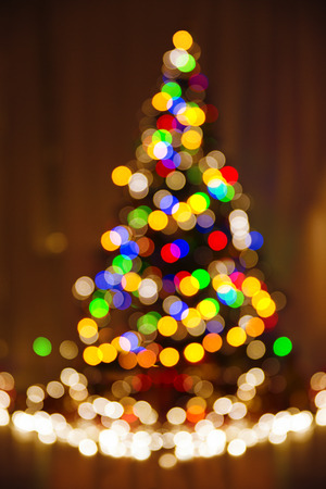 xmas tree: Christmas Defocused Lights, Xmas Tree, Blurred Holiday Abstract Colorful Night